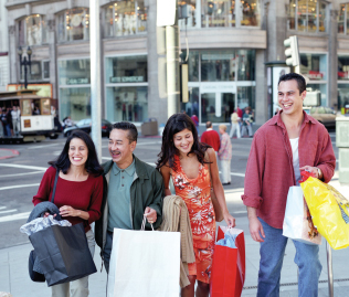 Shopping in Union Square in San Francisco